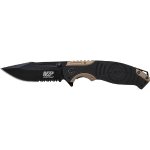 Liner Lock, 8cr13mov Drop Point Blade, Thumb Knobs, Index Flipper, Black/gold Handle