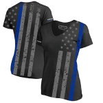 Women's Athletic V-neck T-shirt - All-over, Thin Blue Line