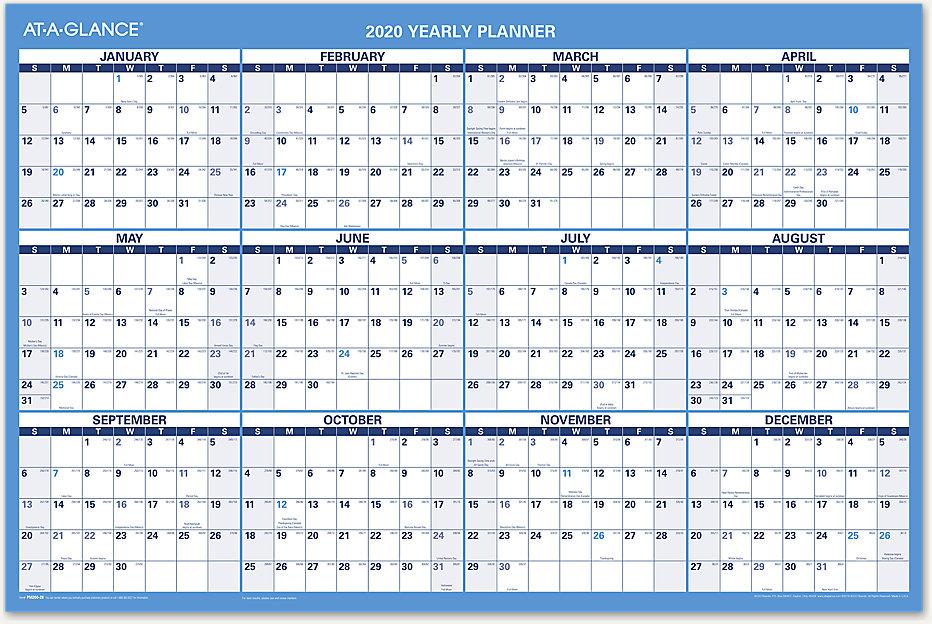 Cricut January 2020 Calendar 8x11 AT A GLANCE 2020 Horizontal Erasable Yearly Wall Calendar 24x36