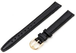 10mm Genuine Leather Long Black Replacement Watchband with Gold Buckle Includes Spring Bars
